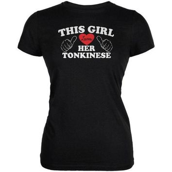 MDIGCY8 Valentines This Girl Loves Her Tonkinese Black Juniors Soft T-Shirt