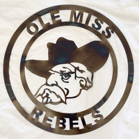 Ole Miss Wall Art torched finish rebels custom design 24 inch