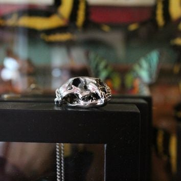 White Bronze Cast Lion Skull Pendant