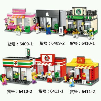 City Series Mini Street Model Store Shop with Apple Store McDonald`s Building Block Toys Compatible with legoingly