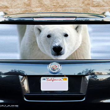 Perfik308 Full Color Print Perforated Film Truck SUV Back Window Sticker polar bear
