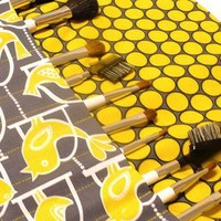 Makeup Brush Roll -Michael Miller Grey Citron and Black - Ready to Ship