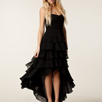 Black Ruffled Asymmetrical Dress