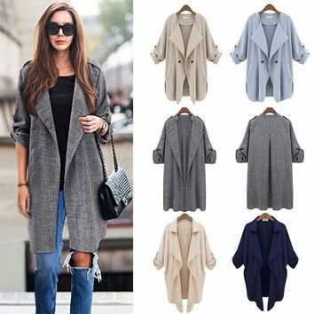 Women Duster Coat Waterfall Long Sleeve Autumn Open Cardigan Jacket Tops Outwear