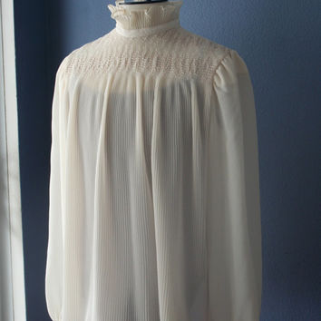 Ruffle Neck Blouse, Ivory Pleated Blouse, Victorian Style Top, Womens Cream Shirt, Sheer Blouse, Flowy Blouse