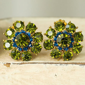 Green and Blue Rhinestone Earrings Clip Gorgeous by My3Chicks