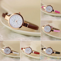 Women's Rhinestone Faux Leather Super Thin Strap Quartz Analog Dress Wrist Watch 2CXU