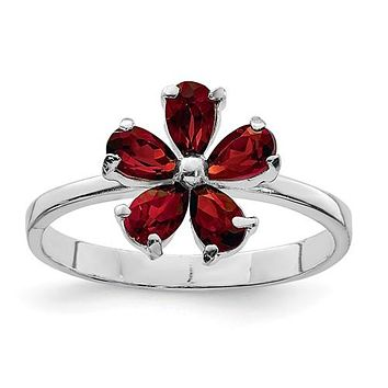 Sterling Silver Genuine Pear Garnet Flower Ring