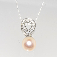 Freshwater Pearl Necklace Clear CZ Teardrop Necklace .925 Sterling Silver, 18""
