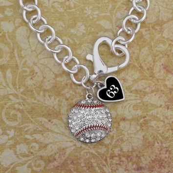 Crystal Baseball Necklace With Custom Number and Heart Clasp