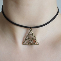 black suede choker bronze triquetra choker celtic knot choker handmade jewellery fashion choker celtic triangle choker triquetra necklace
