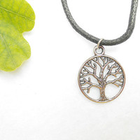 Antique Silver Tree Of Life Necklace - Yggdrasil Necklaces - Gold Tree Necklace - Viking Mens Jewelry - Fathers Day Gift - Mens Jewellery