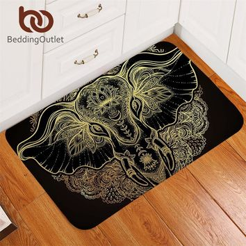 Autumn Fall welcome door mat doormat BeddingOutlet Tribal Elephant Bathroom Rugs Non-slip Boho Mandala Golden Area Rug Ethnic Indian God Ganesha s Outdoor AT_76_7