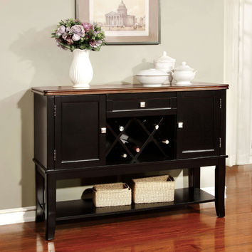 Furniture of america CM3326BC-SV Dover cherry and black finish wood dining sideboard server console table