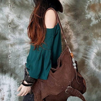 Dark chocolate brown engraved leather hobo bag asymmetrical tribal bohemian boho festival  purse sweet smoke free people bag moroccan