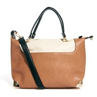 Warehouse Tan Midi Metal Corners Bag