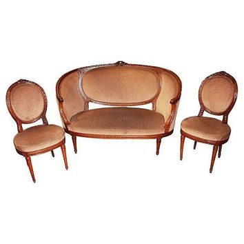 Pre-owned French Louis XVI-Style Settee & Chairs - Set of 3