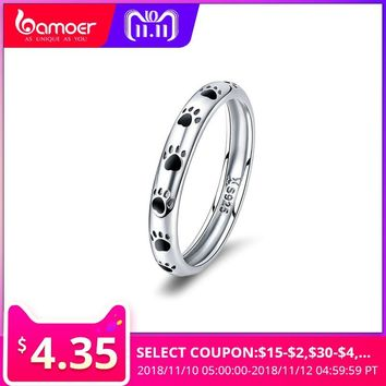 BAMOER Fashion 925 Sterling Silver Stackable Dog Cat Footprints Finger Rings for Women Wedding Party Ring Jewelry Anel SCR445