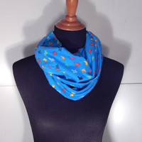 Infinity Scarf, Small cute birds, blue infinity scarf, scarves and wraps, Summer scarves, accessories, bird scarf, bright blue accessories