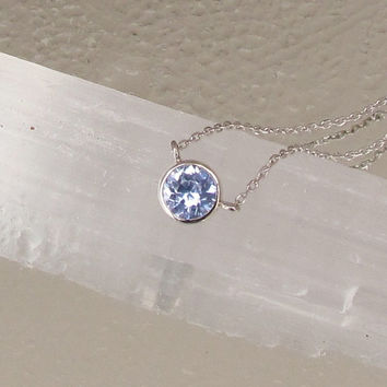Light Blue Sapphire in 14k White Gold Bezel Setting with 18inch Cable Chain Christmas Birthday Keepsake Gift for Her