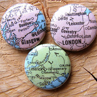 Vintage Map England Ireland Scotland Magnets by cowboygoods