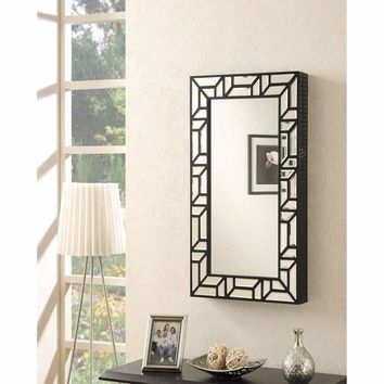Dazzling Wall Mounted Jewelry Cheval Mirror Armoire, Black By Coaster
