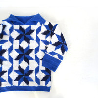 Vintage Crochet Sweater / STAR QUILT Sweater / 1960s Sweater / Star Sweater / L