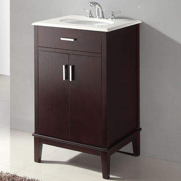 "21"" Single Bathroom Vanity Set in Espresso with White Quartz Top"