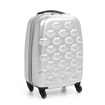 Silver Hard Sided Lips Small Spinner Case | Hard Sided Luggage | Luggage | Lulu Guinness