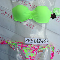 New Sexy Victoria's Secret Madi Bandeau Bikini Set Mix and Match 34D S Neon