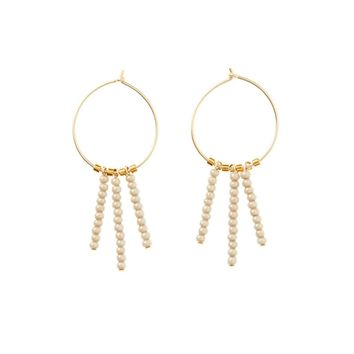Tanga Beaded Tassel Hoop Earrings