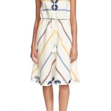 Tory Burch 'Blaine' Stripe Sleeveless A-Line Dress | Nordstrom