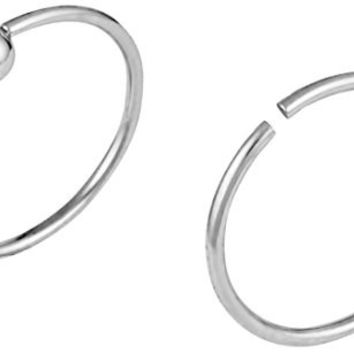 Set of 2 Styles Nose Hoops: Surgical Steel Nose Ring Hoops, 1 Seamless Ring & 1 Captive Bead Hoop