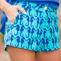 Seahorse Summer Fun Shorts, Teal-Navy