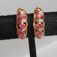 Gold Plated Sterling Silver Vermeil & RUBY Demi Hoop Pierced Vintage Shrimp Earrings
