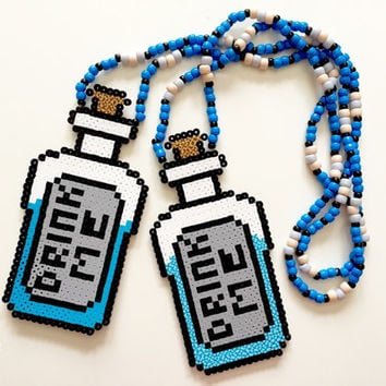 "2 Alice in wonderland ""drink me"" kandi perler necklace, set of 2 rave kandi necklaces"