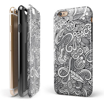 Hippie Dippie Doodles iPhone 6/6s or 6/6s Plus 2-Piece Hybrid INK-Fuzed Case
