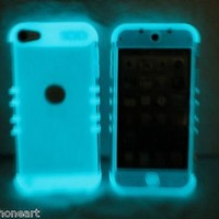 iPod Touch 5th Gen Cover Case Transparent Clear Glow Shock Resistant Hybrid