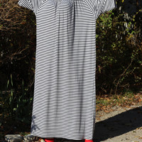 XXL Maxi White and dark blue stripes Plus size Handmade elastic cotton jersy tricot caftan autumn day party evening dress