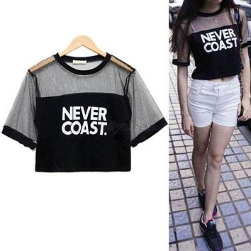 Women Blouse Crop Top Shirt Sleeve Mesh See-through Short Tops For Female