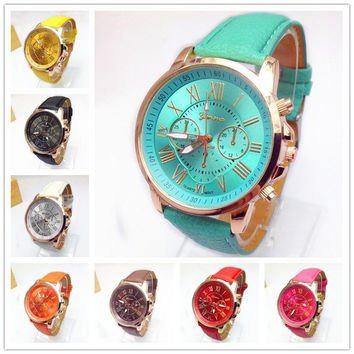 New Womens Fashion Roman Numerals Faux Leather Analog Quartz Wrist Watch Fashion Accessories = 1931762436