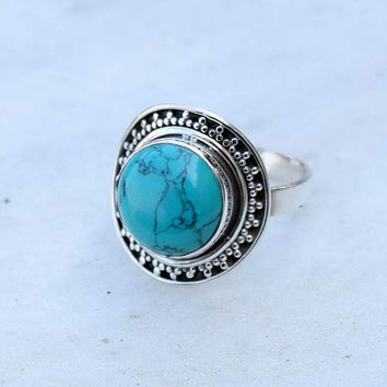 Turquoise ring, silver ring,  stone ring, turquoise stone ring, 92.5 sterling silver, Natural Turquoise Silver Ring,  RNSLTR222