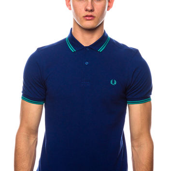 Fred Perry Slim Fit Twin Tipped Medieval Blue Polo Shirt