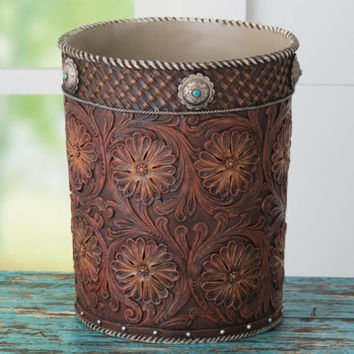 Tooled Concho Waste Basket