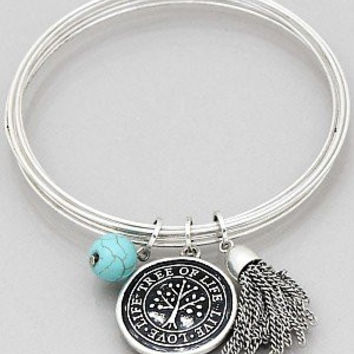 Womens Jewelry, Tree of Life Wire Bangle with Tassel Bracelets Color : Burnished Silver Size : Diameter:2.5inch