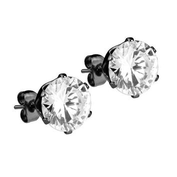 Mister Circle Stud Earrings - Black