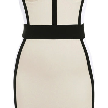 Clothing : Pencil Dresses: 'Luciana' Nude, White and Black Bustier Pencil Dress