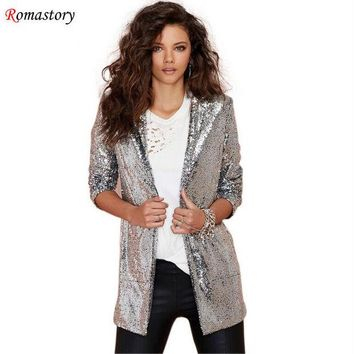 DCCKJG2 2016 spring new shine on both sides of the big pocket commuter sequined cardigan jacket women coat fashion Blazers A516