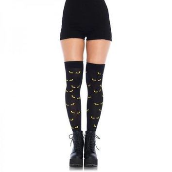 Spooky Eyes Printed Opaque Thigh Highs