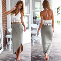 Lace Halter Top and Asymmetric Maxi Skirt Set
